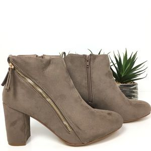 26632c22c20 Mel s suede taupe ankle booties with gold zipper